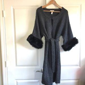 Kenar Dark Gray Sweater Coat Faux Fur Sleeves L